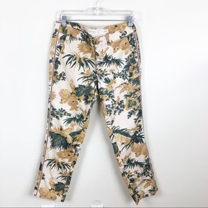 Anthropologie Chino  Print Floral Tropical Print